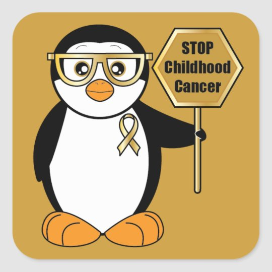 Stop Childhood Cancer: Penguin with a Stop Sign Square Sticker