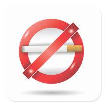stop cigarette square sticker