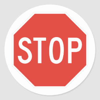 Stop Classic Round Sticker