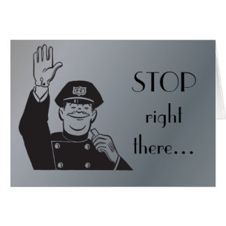 Stop Cop Police Happy Anniversary Retro Clipart Card