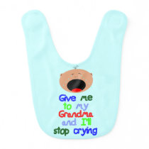 Stop crying for Grandma. Light skin boy. Bib