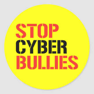 STOP CYBER BULLIES CLASSIC ROUND STICKER