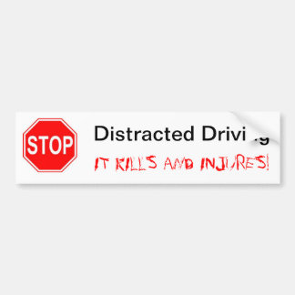 Stop Distracted Driving Bumper Sticker