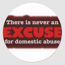 Stop Domestic Abuse - There Is No Excuse Classic Round Sticker