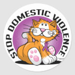 Stop Domestic Violence Cat Classic Round Sticker