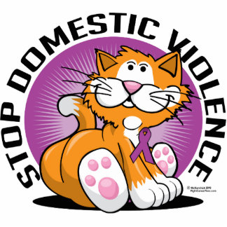 Stop Domestic Violence Cat Statuette