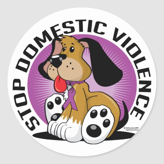 Stop Domestic Violence Dog Classic Round Sticker