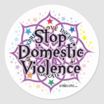 Stop Domestic Violence Lotus Classic Round Sticker