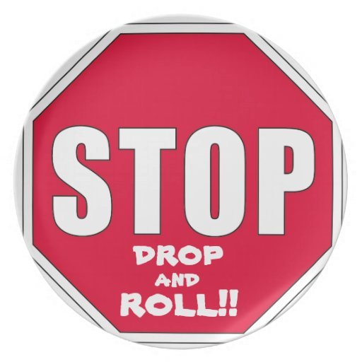 Stop! Drop and Roll!! Party Plate