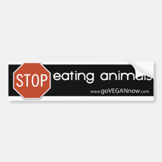 STOP EATING ANIMALS CAR BUMPER STICKER