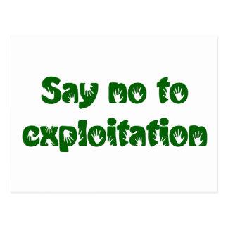 Stop exploitation postcard