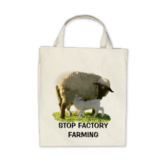 STOP FACTORY FARMING ORGANIC COTTON GROCERY BAG