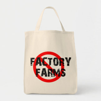 STOP FACTORY FARMS GROCERY TOTE BAGS