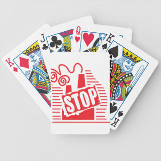 STOP FACTORY POLLUTION RED LOGO CAUSES ENVIRONMENT BICYCLE PLAYING CARDS