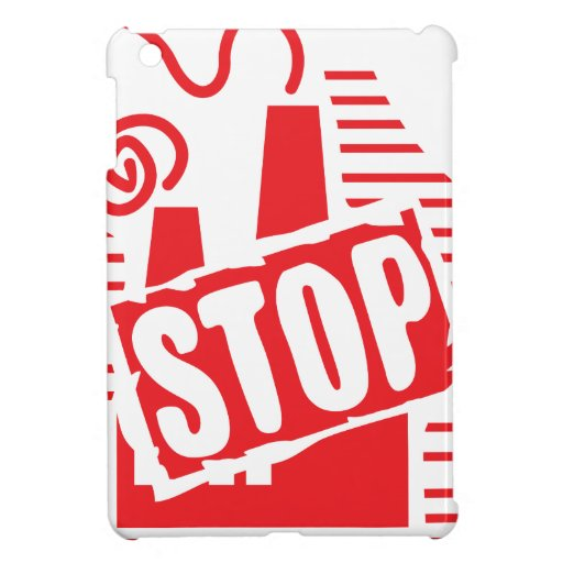 STOP FACTORY POLLUTION RED LOGO CAUSES ENVIRONMENT iPad MINI COVER