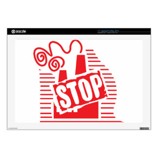 STOP FACTORY POLLUTION RED LOGO CAUSES ENVIRONMENT LAPTOP SKINS