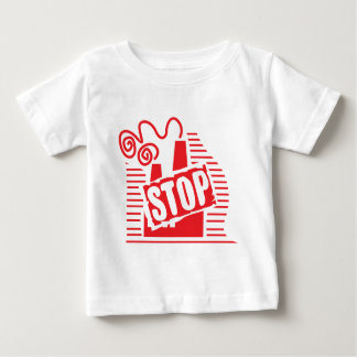 STOP FACTORY POLLUTION RED LOGO CAUSES ENVIRONMENT T SHIRT