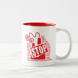 STOP FACTORY POLLUTION RED LOGO CAUSES ENVIRONMENT Two-Tone COFFEE MUG