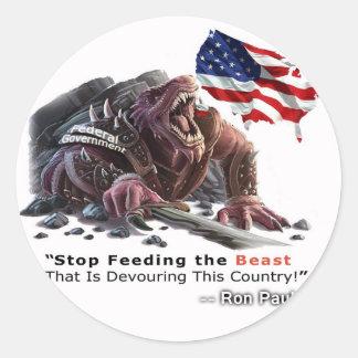 STOP Feeding the Beast Classic Round Sticker