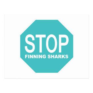 Stop Finning Sharks Sign Postcard