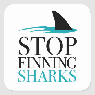 STOP FINNING SHARKS SQUARE STICKER
