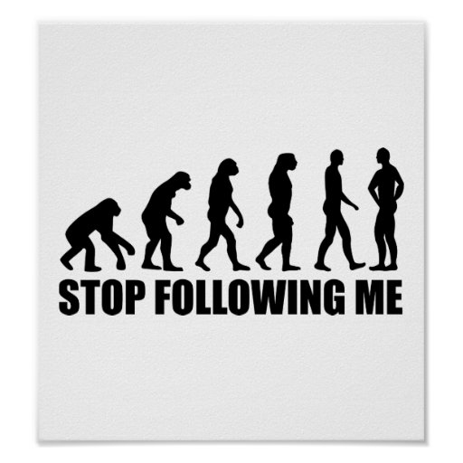 Stop following me evolution poster