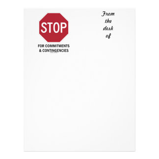 Stop For Commitments Contingencies Stop Sign Letterhead Template