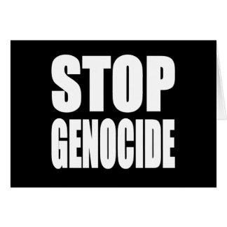 Stop Genocide. Protest Message. Card