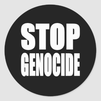 Stop Genocide. Protest Message. Round Stickers
