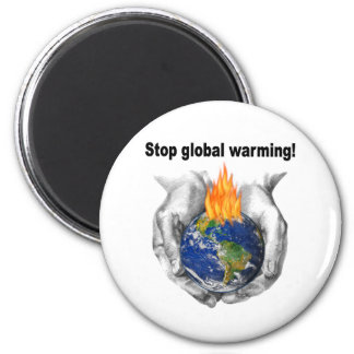 Stop global warming! 2 inch round magnet