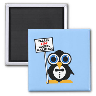 stop global warming 2 inch square magnet