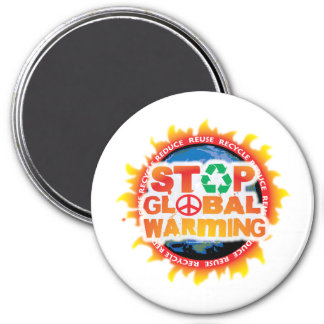 Stop Global Warming 3 Inch Round Magnet