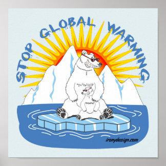 Stop Global Warming Bears Poster