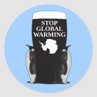 Stop global warming classic round sticker
