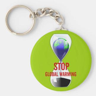 Stop Global Warming Hourglass Keychain