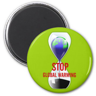 Stop Global Warming Hourglass Magnet