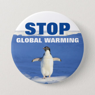Stop global warming penguin Round Button