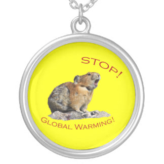 Stop Global Warming Round Pendant Necklace