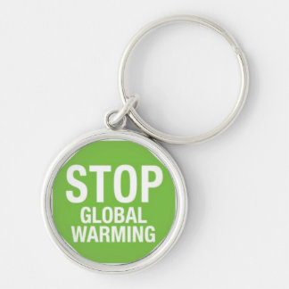 STOP Global Warming Silver-Colored Round Keychain