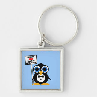 stop global warming Silver-Colored square keychain