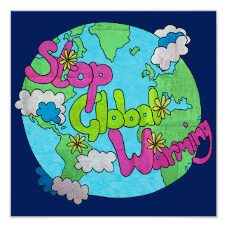Stop Global Warming - Textured   Square Poster