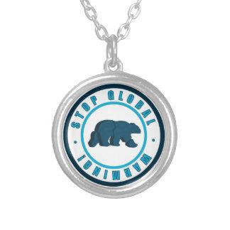 Stop global warming vintage circle design round pendant necklace