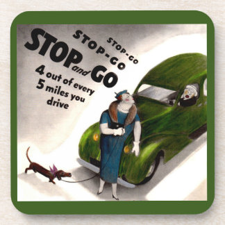 Stop, Go, but don't hit the fat lady or her dog Beverage Coaster