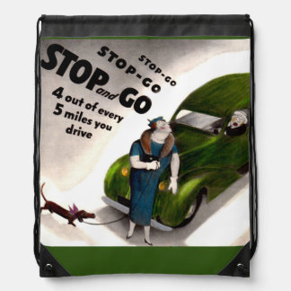 Stop, Go, but don't hit the fat lady or her dog Drawstring Bag