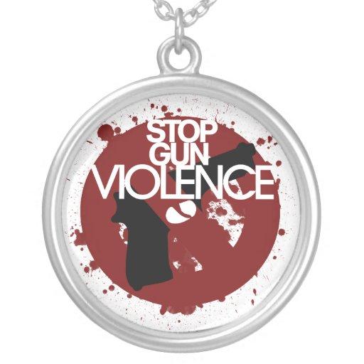 stop gun violence round pendant necklace