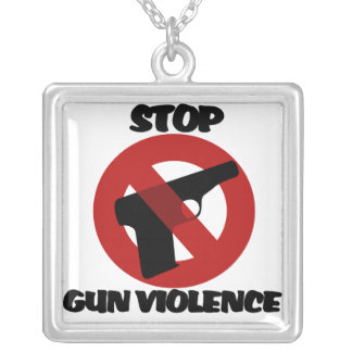 Stop Gun Violence Silver Plated Necklace