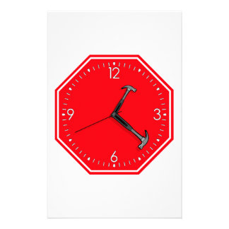 Stop Hammer Time Sign Clock Stationery