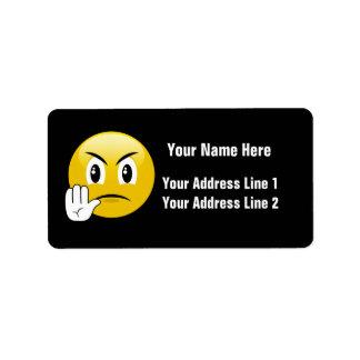 Stop Hands Emoji Label