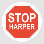 Stop Harper Design in support of 2015 election Classic Round Sticker