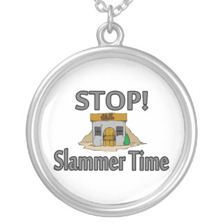 Stop It's Slammer Time Silver Plated Necklace